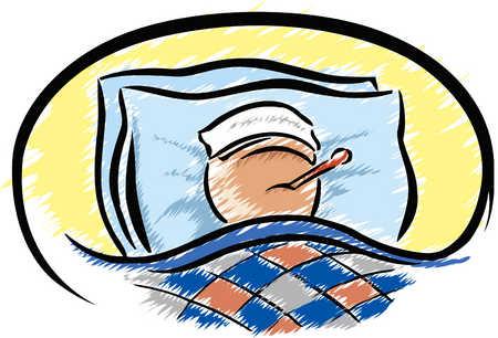 体調不良のために寝込んでいます。軽症の方は自宅でゆっくりしていましょう。
